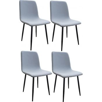 Mahmayi HYDC058 Fabric Dining Chair, Modern Mid Century Living Room Side Chairs with Metal Legs, Pack of 4, Free Assembly - Grey   HYDC058-GRY-PK4