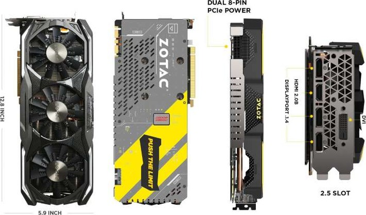 Zotac GeForce GTX 1070 AMP Extreme Edition 8GB GDDR5 Graphics Card