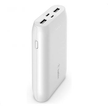 Belkin Portable Power Bank Charger 10,000 mAh Portable Charger Battery Pack with USB-C + Dual USB Ports, iPhone 12, 12 Pro, 12 Pro Max, 12 mini and Earlier Models, AirPods, iPad - White | 745883797677