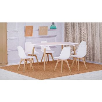 Mahmayi Cenare 7 Piece Dining Set for Kitchen, 140 X 80 Table With 6 PU Dining Chair, Dining Room Set Lounge Set, Eiffel Legged Base Seat Shell Top Side Chairs - White | SetTable-6PUCHAIR-WHT