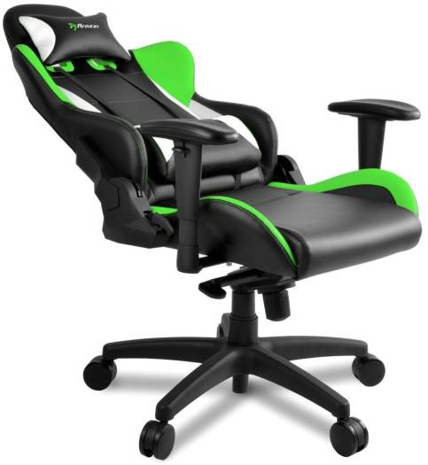 Arozzi Verona Pro V2 Gaming Chair with High Backrest, Recliner, Swivel, Tilt, Rocker and Seat Height Adjustment, Lumbar and Headrest Pillows Included, Green | VERONA-PRO-V2-GN