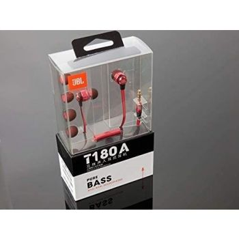 JBL Wired Earphone with Microhpne - T180A - Red   6925281915611