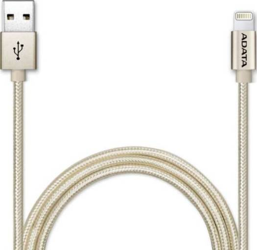 ADATA MFi-Certified Sync and Charge Lightning Cable 1 Meter for Apple iPhone, iPad, iPod (Aluminum and Braided, Fast Charging up to 2.4A, Durable) – Gold | AMFIAL-100CMK-CGD