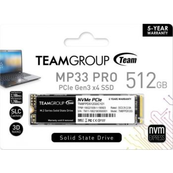 Team Group MP33 PRO M.2 2280 512GB PCIe 3.0 x4 with NVMe 1.3 3D NAND Internal Solid State Drive (SSD) | TM8FPD512G0C101