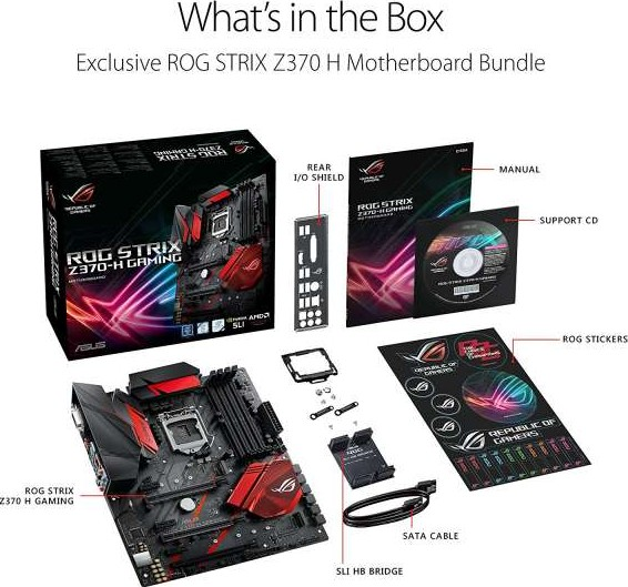 Asus Rog Strix Z370 H Gaming Motherboard LGA1151, DDR4, DP HDMI, Dual M 2,  ATX Motherboard with Giga