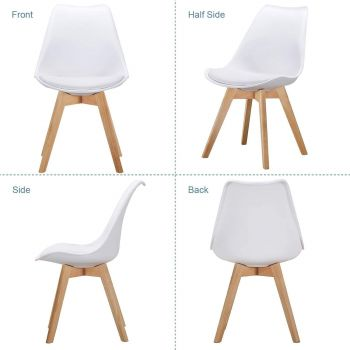 AYHYZ Retro Dining Side Mid Century Modern Chairs Durable PU Cushion with Solid Wooden Legs, Set of 4 - White | PU-WHT-DIN-4