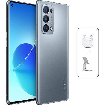 OPPO Reno6 Pro 5G Dual SIM Smartphone, 256GB, 12GB RAM, 65W Super VOOC Flash Charge 50MP, AI Quad Camera 5G Mobile Phone Unlocked, UAE Version  + OPPO True Wireless + Mobile Stand - Lunar Grey