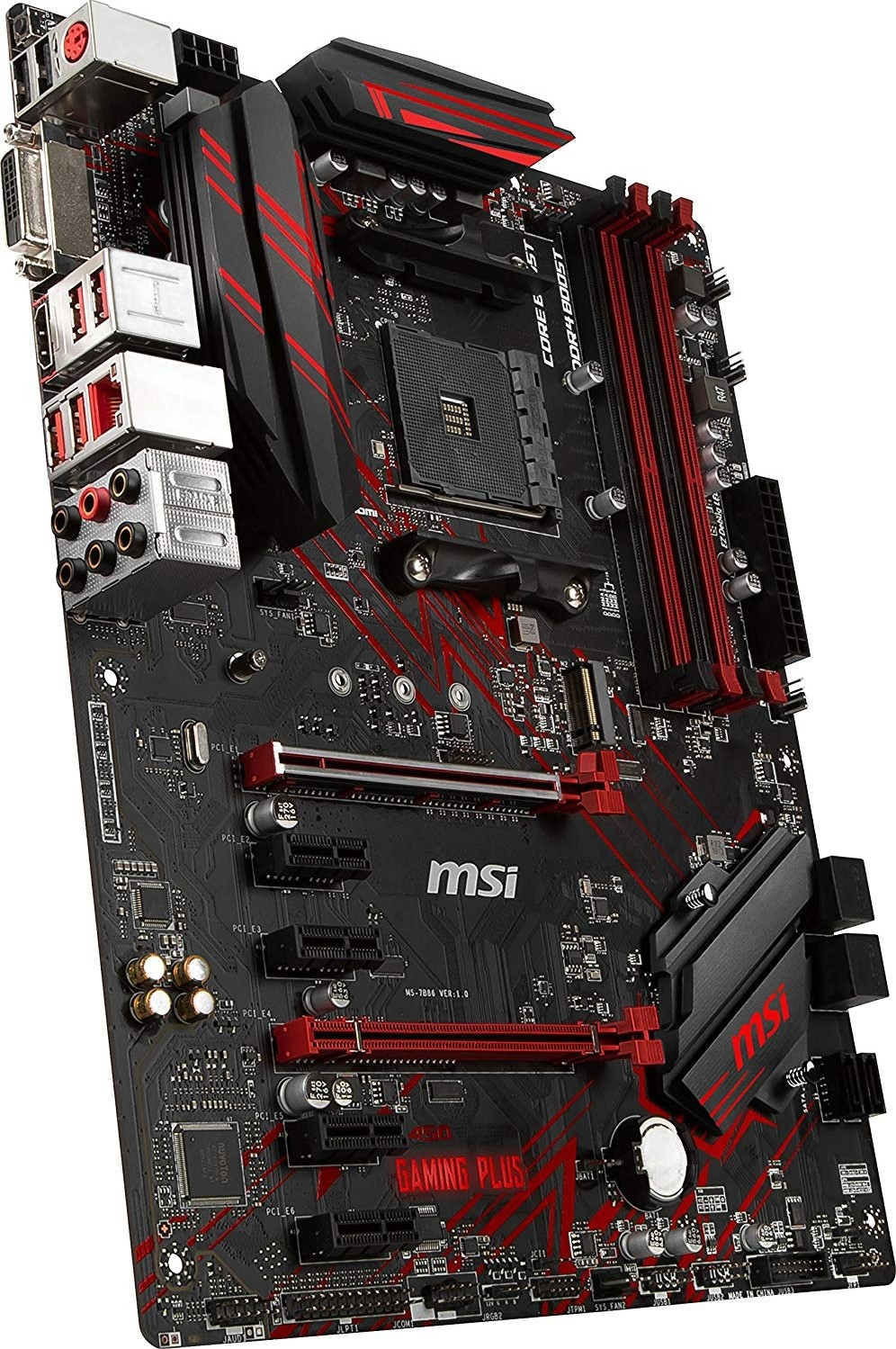 MSI B450 Gaming Plus AM4 AMD B450 Ryzen (91st 2nd Gen) DDR4 PCIe 3 0 X16  SATA 6Gb/s ATX AMD Motherboard | 911-7B86-010 / 911-7B86-002