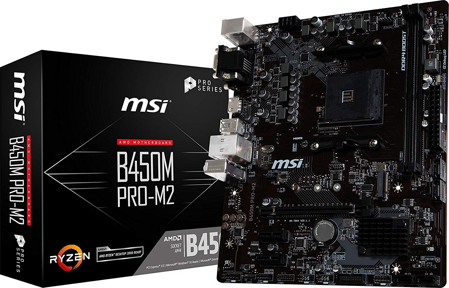 msi b450m pro m2 am4 amd ryzen 1st and 2nd generation amd b450 sata 6gb s micro atx motherboard