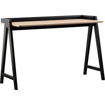 KAI Desk, Modern Nordic Desk, Study Desk, Computer Desk For Home Office With Solid Wood Base & Oak Top By Daamudi - Black   KAI-DSK-BLK