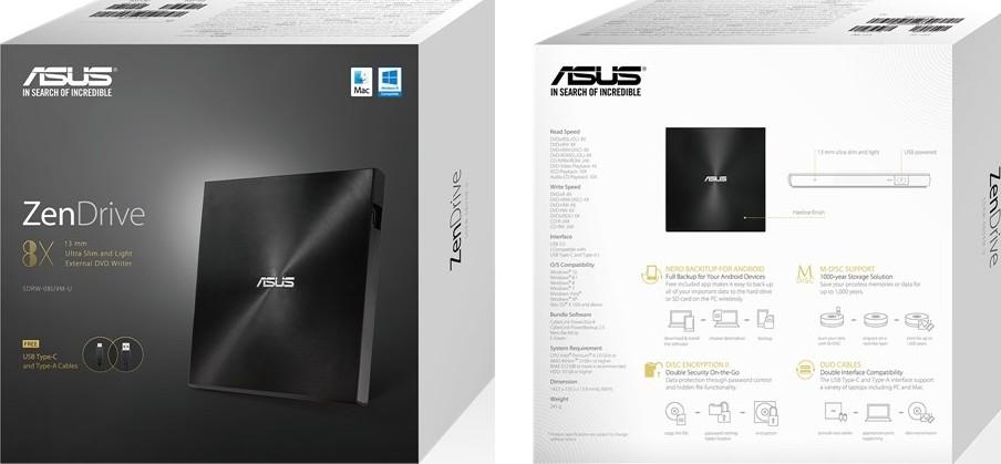 ASUS ZenDrive SDRW 08U9M U BLK G AS P2G ultra slim portable 8X DVD burner  with M DISC support, c