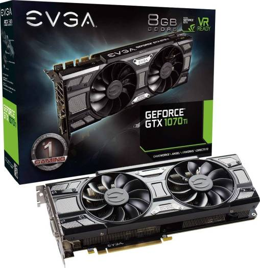 EVGA GeForce GTX 1070 Ti SC GAMING ACX 3.0 Black Edition, 8GB GDDR5, EVGA OCX Scanner OC, White LED, DX12OSD Support (PXOC) Graphics Card | 08G-P4-5671-KR