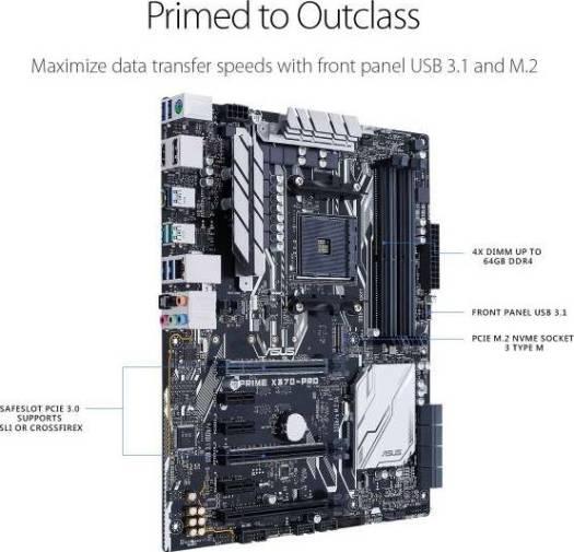 ASUS Prime X370-Pro AMD Ryzen AM4 DDR4 DP/HDMI, 32Gb/s M.2, SATA 6Gb/s, USB 3.1 ATX X370 Motherboard with AURA Sync RGB Lighting | 90MB0TD0-M0EAY0