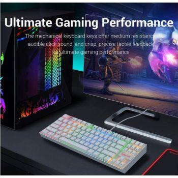 Redragon K552W-RGB KUMARA Mechanical, 87 Standard Keys, 12 Multimedia Keys, Gaming Keyboard - White | K552W-RGB