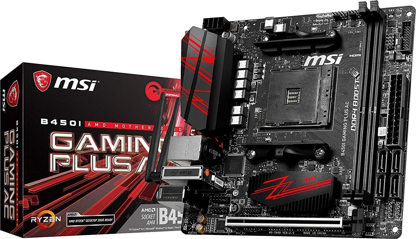 MSI B450I Gaming Plus AC - AMD Ryzen 1st and 2nd Gen AM4 M.2, USB 3, D