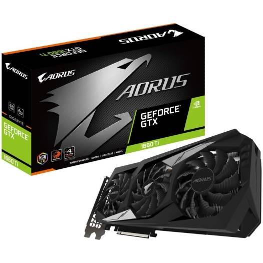GIGABYTE AORUS GeForce GTX 1660 Ti Graphics Card, 3X Windforce Fans, 6GB 192-bit GDDR6, Metal back plate with RGB Illumination, 1 x HDMI, 3 x DisplayPort, Pci Express 3.0 x16 |  GV-N166TAORUS-6GD