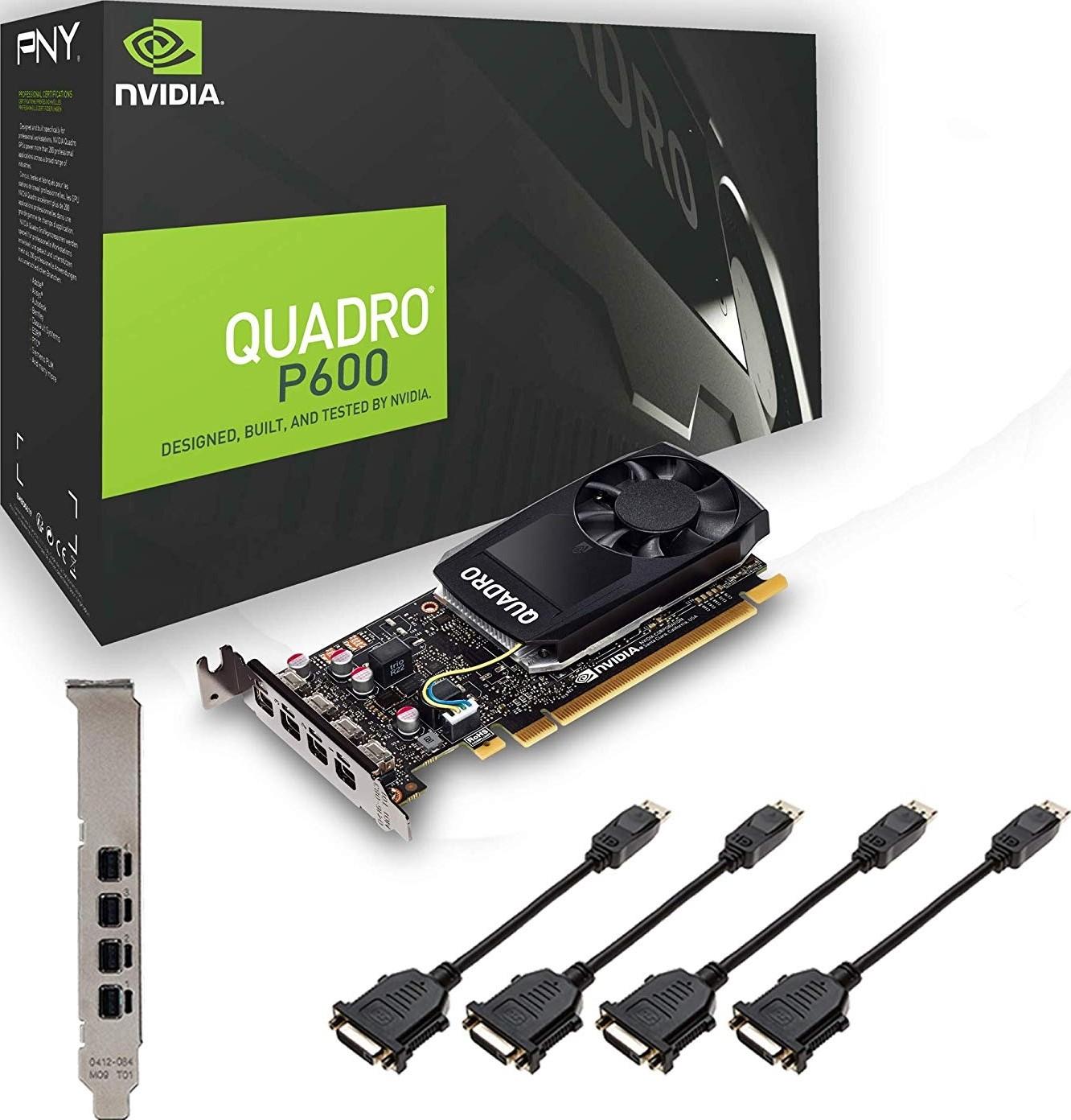 Nvidia Quadro P600 2G GDDR5 PCI-E Video Card Low Profile CUDA 4xMini DisplayPort