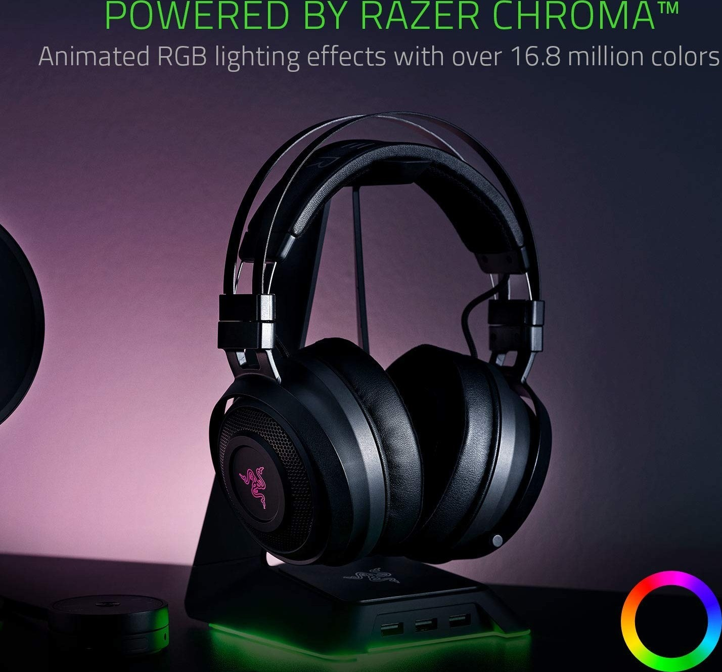 Razer Nari Thx Spatial Audio Cooling Gel Infused Cushions 2 4Ghz Wireless  Audio Mic With Game
