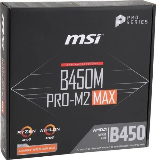 MSI B450M Pro-M2 MAX AMD Socket AM4 B450 Motherboard mATX 3rd Gen AMD Ryzen Ready | 911-7B84-025