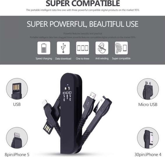 Swiss Army Knife Style 3 In 1 Usb Data Cable Charger Cable