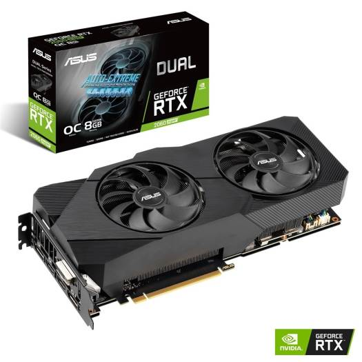 ASUS Dual GeForce RTX 2060 SUPER EVO OC edition, 8GB GDDR6, CUDA Core 2176, Memory Interface 256-bit, 1x HDMI, 2x DisplayPort, 1x DVI, PCI Express | 90YV0DF0-M0NA00