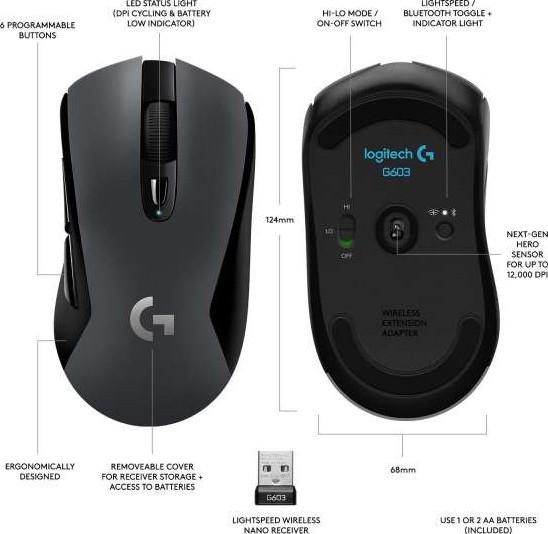fe874ea3b0a Logitech G603 Wireless Gaming Mouse with HERO optical sensor (12.000 DPI) |  910-