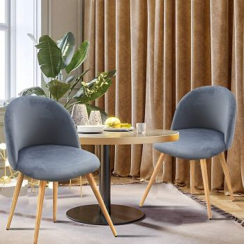 Mahmayi HYDC019 Dining Chairs, Modern Kitchen Chairs Velvet Upholstered Accent Leisure Chairs for Living Room, Pack of 2, Free Assembly - Grey | HYDC019-GRY-P2
