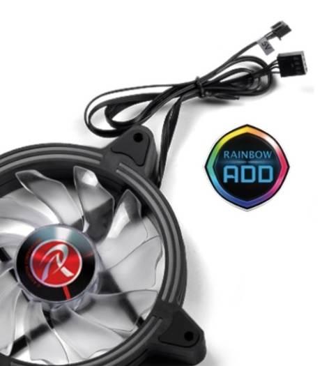 Raijintek SKLERA 12 RBW ADD - 1pc, Addressable LED, ADD 4pin header & PWM function, 11 blade fan & Hydraulic Bearing, Without remote controler   0R40B00128