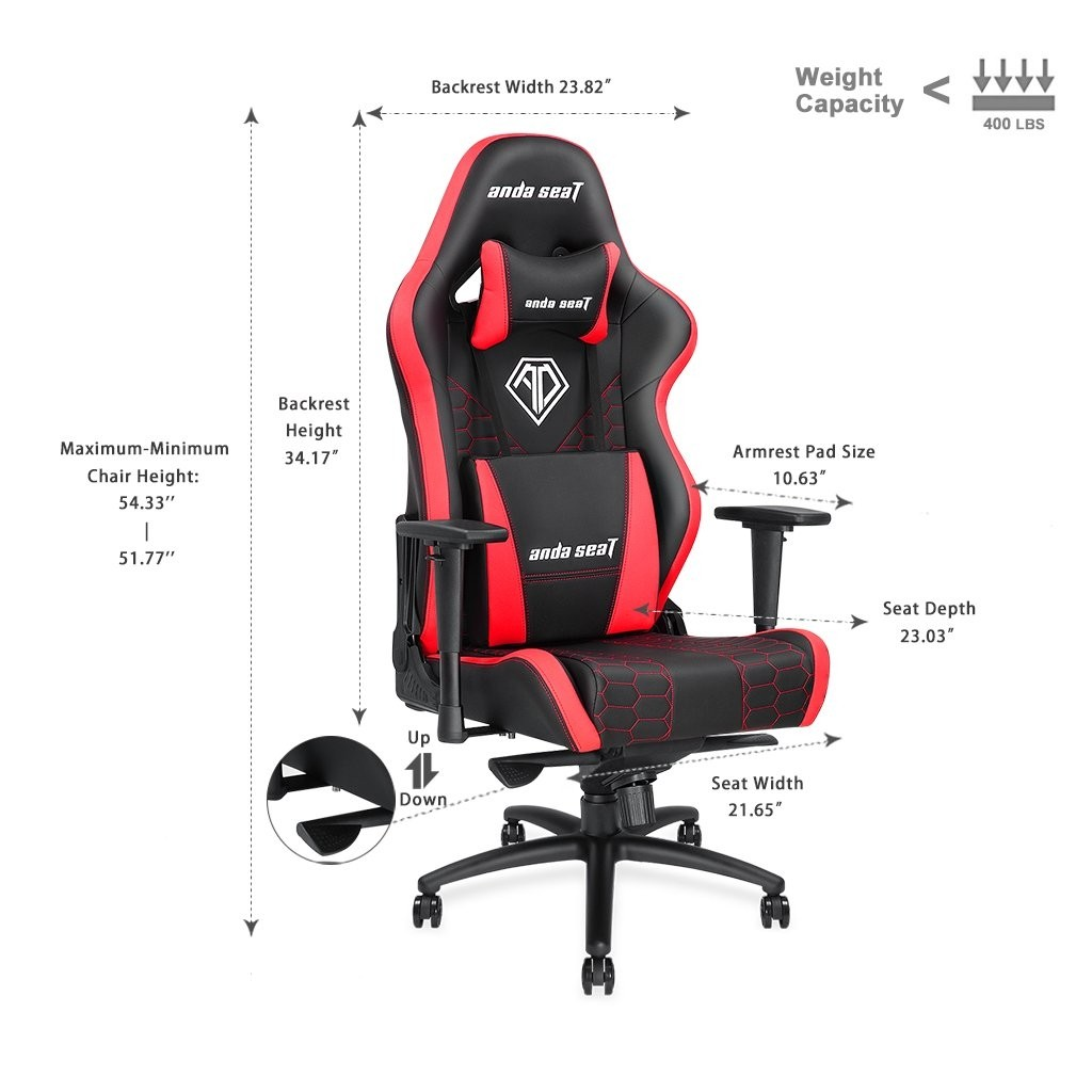 Anda Seat AD4XL-05-BR-PV Spirit King Series Gaming Chair, Armrest ...