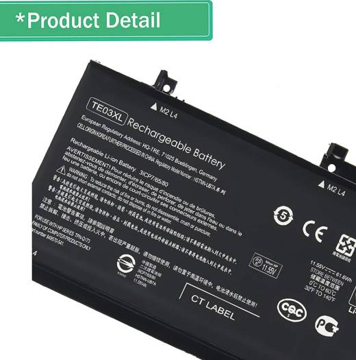 Replacement battery for HP, TE03XL 11.55V, 5150mah, 61.6Wh, 3-Cell | TE03XL