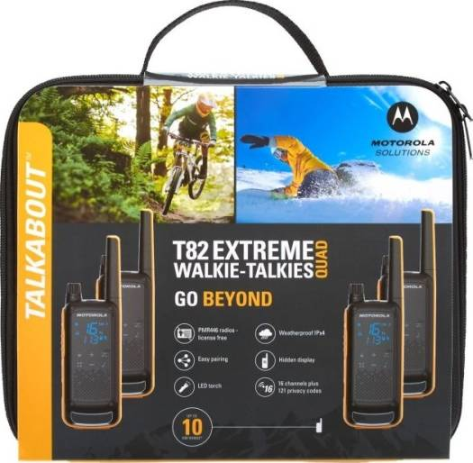 Motorola Talkabout T82 Extreme, PMR446 2-Way Walkie Talkie Radio, Up To 10km Range, IPX4 Rating - Yellow/Black | T82 Extreme Quad Pack