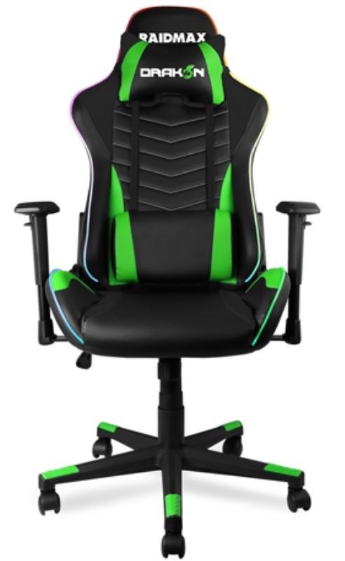 Magnificent Raidmax Drakon Dk922 Rgb Green Gaming Chair Pu Leather 90 135 Backward Movement 1D Movable Alphanode Cool Chair Designs And Ideas Alphanodeonline