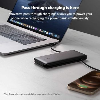 Belkin Boost Charge Plus 10K Portable Charger Power Bank, 10,000 mAh with Integrated Lightning (MFI) and Integrated USB-C Cables and Additional USB-C Charging Port - Black   745883815371