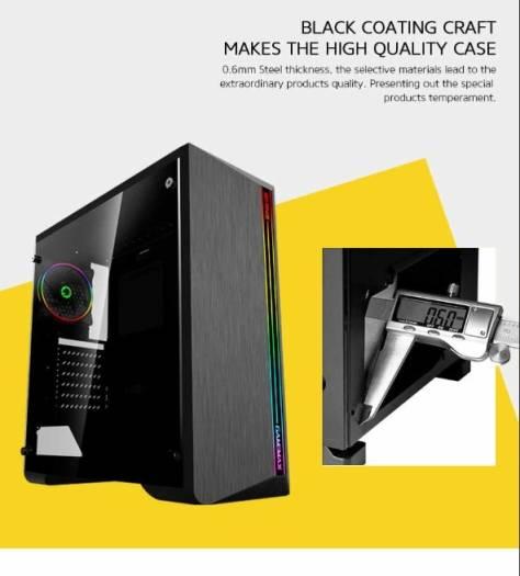 GAMEMAX Case Atx G517 Shine 0.5MM SPCC 3, USB3.0/2.0 1, Fan Dual Halo Slim Rainbow 1, Strip Led Rainbow Side Glass, 508 x 248 x 503mm | G517 Shine