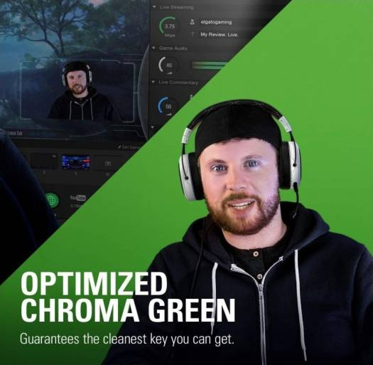 Corsair Elgato Green Screen MT, Mountable Chroma Key Panel for Background Removal, Wrinkle-resistant Chroma-green Fabric   CA-ELGTO-GSCREEN-MT