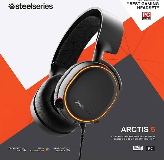 SteelSeries Arctis 5 (2019 Edition) RGB Illuminated Gaming Headset with DTS Headphone:X  7.1 Surround for PC, PlayStation 4, VR, Android and iOS, USB or 4-Pole 3.5mm - Black | 61504