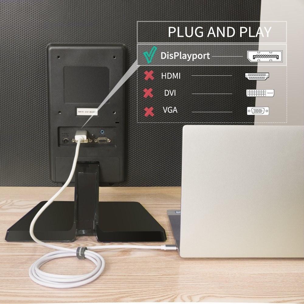 USB C to DisplayPort Cable, Kimwood 1meter 4K 60Hz Thunderbolt 3 Compatible  USB C to DisplayPort C