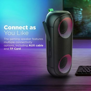 """Vertux Rumba Immersive, IPX6 Bass Boosted Water Resistant, Frequency Range 20Hz-20KHz, Impedance 4 Ohm, Battery Capacity 4000mAh, Wireless Speakers With """"AuraSync"""" LED Lights 