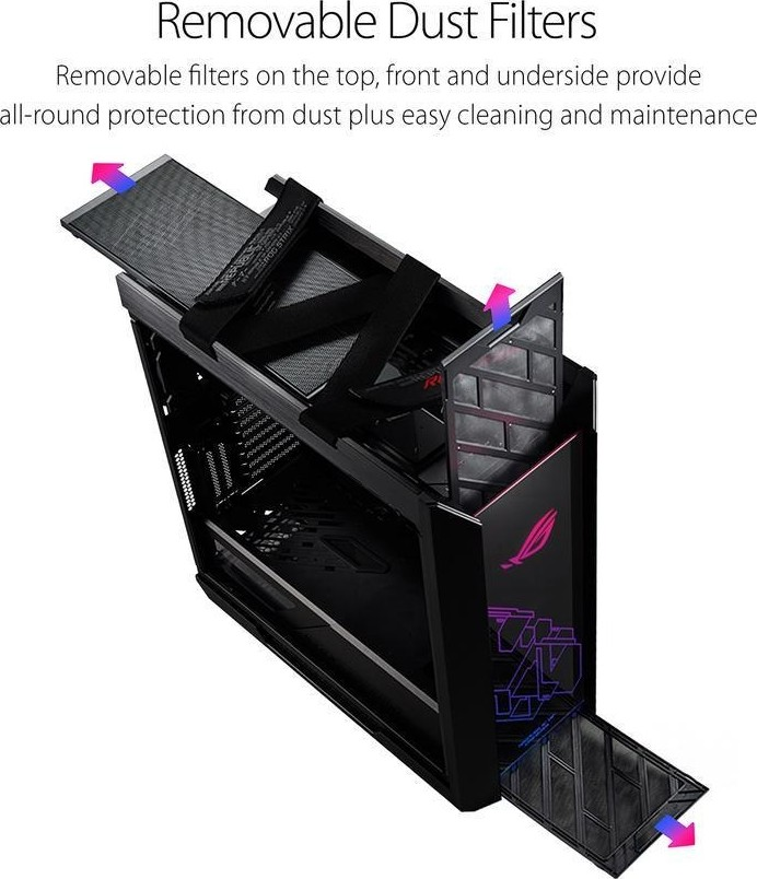 ASUS ROG Strix Helios GX601 RGB Mid-Tower Computer Case up to EATX with USB 3.1 Front Panel, Smoked Tempered Glass, Brushed Aluminum and Steel Construction | 90DC0020-B39000 Buy, Best Price in Saudi