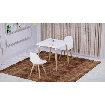 Mahmayi Cenare 3 Piece Dining Set for Kitchen, 80 X 80 Table With 2nPU Dining Chair, Dining Room Set Lounge Set, Eiffel Legged Base Seat Shell Top side chairs - PU White | Dining-TBL-2CushCH-WHT
