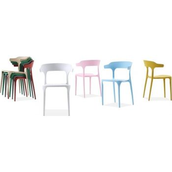 Mahmayi Modern Dining Chairs Modern Chair, Hotel/Negotiation/Cafe, Full Plastic Horn Chair Suitable for Living Room, Bedroom and Kitchen, 4ps Set - Black   Horn-Diniing-4