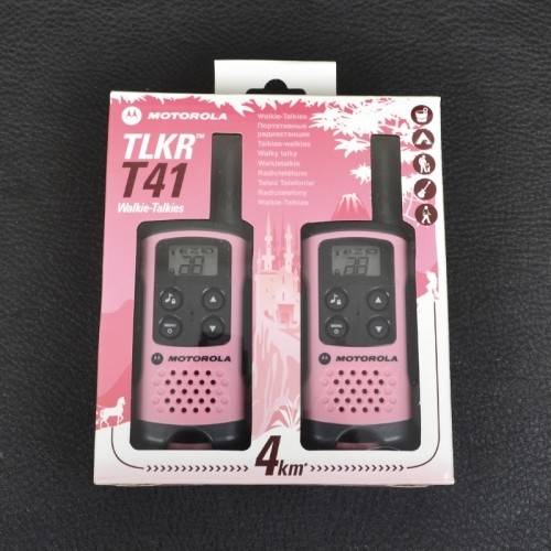 Motorola Pink Walkie Talkie Radio Twin Pack, Analogue, AAA type batteries, LCD display, 8 channels and up to 4 km range   TLKR-T41-P