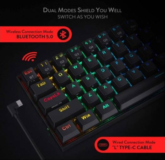 Redragon K530 Draconic 60% Compact Wireless Mechanical Keyboard with RGB, 61 Keys TKL, Designed 5.0 Gaming Keyboard with Bluetooth - Black   K530B-RGB