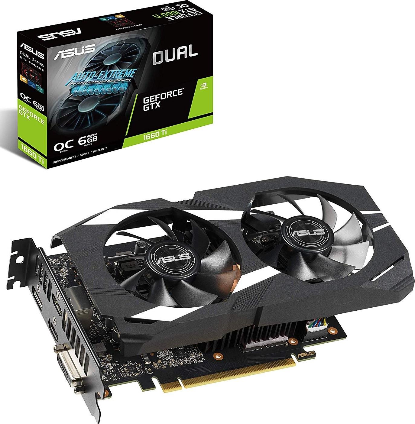 Asus Dual GeForce GTX 1660 Ti OC Edition 6GB GDDR6 192-Bit PCI-e 3.0 1