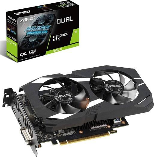 Asus Dual GeForce GTX 1660 Ti OC Edition 6GB GDDR6 192-Bit PCI-e 3.0 1536 Core, 12002 MHz Memory Clock DVI/HDMI/DP Graphics Card (DUAL-GTX1660TI-O6G)   90YV0CT2-M0NA00