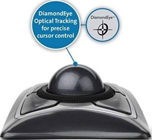 Kensington K64325 Expert Trackball Mouse, Diamond Eye optical, Customizable 4-button design, Ambidextrous design | K64325