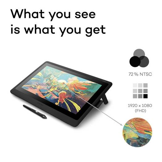 Wacom Cintiq 16 Full HD Display – 15.6-inch Graphic Display with Integrated legs, FHD1920 x 1080 display with a viewing angle of 176°, 16.7 million colours & a Colour Gamut of 72% NTSC | DTK1660K0B