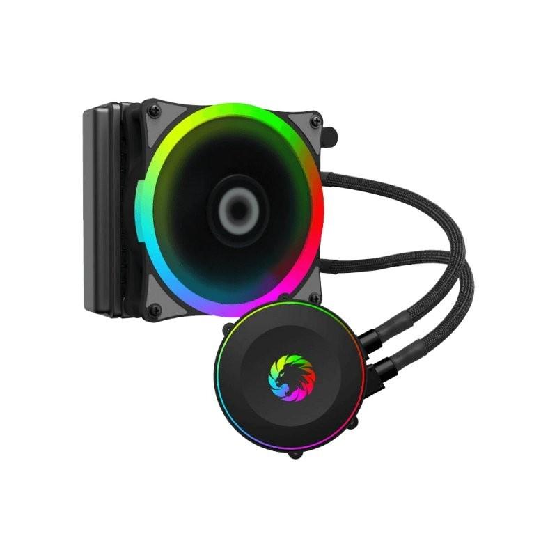 GameMax Iceberg 120 Rainbow Liquid Cooling, 20mm rgb rainbow addressable  fans with PWM function, Com