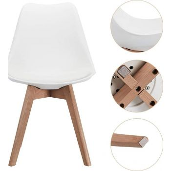 CangLong Mid Century Modern DSW Side Chair with Wood Legs for Kitchen, Living Dining Room, Set of 1 - White | PU-WHT-DIN-1
