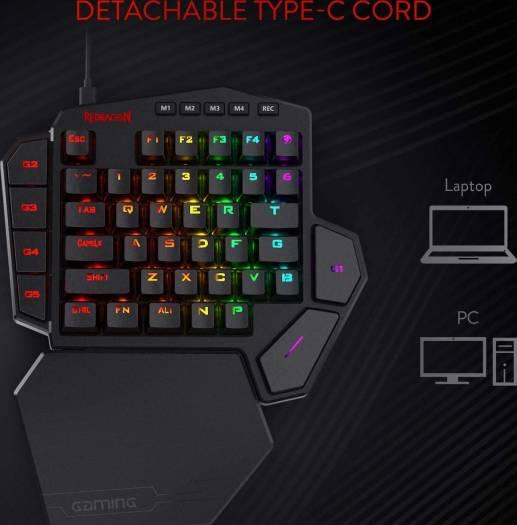 Redragon K585 DITI One-Handed RGB Mechanical Gaming Keyboard Blue Switches Type-C Professional Gaming Keypad with 7 Onboard Macro Keys Detachable Wrist Rest 42 Keys | K585RGB-BA / K585RGB